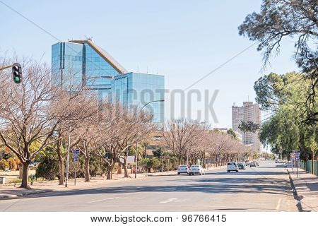 Street Scene In Bloemfontein With The Statue Of Nelson Mandela