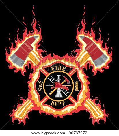 Firefighter Cross With Axes And Flames