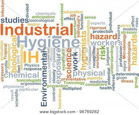 Background concept wordcloud illustration of industrial hygiene IH poster