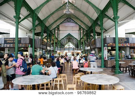 SINGAPORE - CIRCA FEBRUARY, 2015: Lau Pa Sat Festival Market was formerly known as Telok Ayer Market - now it is a popular catering in Singapore. Is a national historic landmark of Singapore.