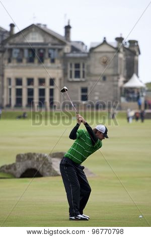ST ANDREWS, SCOTLAND. July 15 2010: Lucas GLOVER from the USA in action on the first day of The Open Championship   played on The Royal and Ancient Old Course