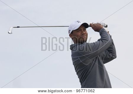ST ANDREWS, SCOTLAND. July 11 2010: Tiger Woods (USA) in action during the preview day of The 150th Open Championship played on The Royal and Ancient Old Course