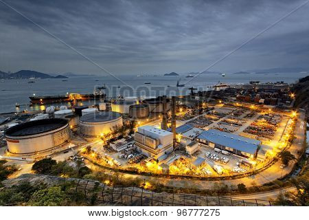 petrochemical industrial plant at sunset moment