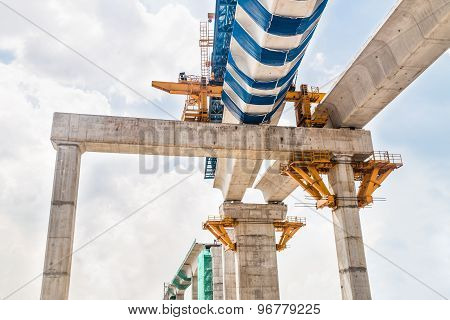 Construction of a mass rail transit train infrastructure in progress