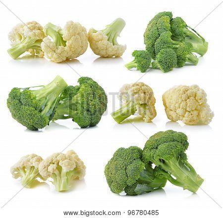 Broccoli And Fresh Cauliflower Isolated On White Background