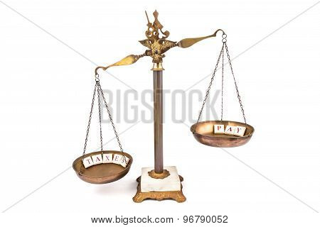 Commercial concept of imbalanced scale. Income exceeds taxes