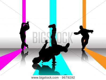 men and woman dancers silouettes on colour stripes poster