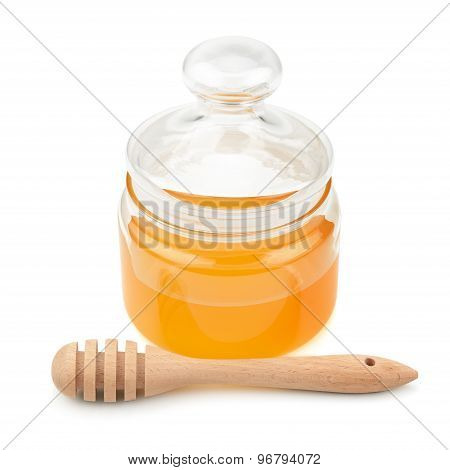 Pot With Honey And Drizzler Isolation On A White Background