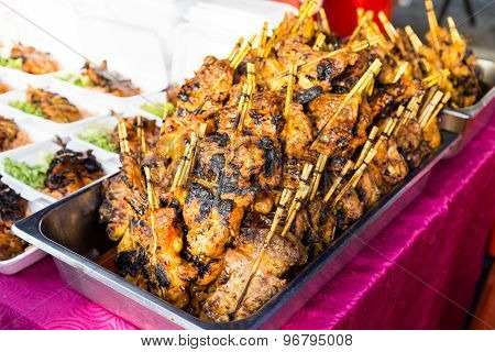 Grilled chicken or popularly known as ayam percik at a street bazaar, in preparation for iftar durin