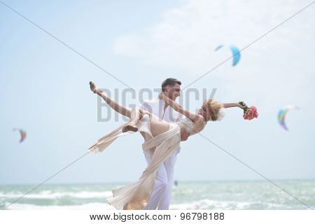 Pretty Wedding Pair On Beach
