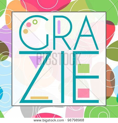 Grazie Text Colorful Background