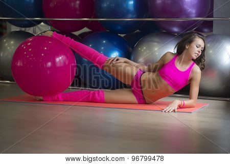 Young Fitness Girt With Ball