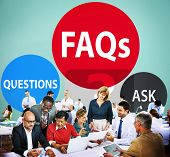 FAQs Frequently Asked Questions Solution Concept poster