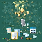 Education: School board training formulas university college school math physics calculator vector illustration poster