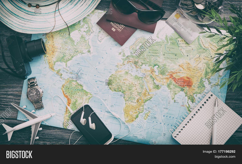 travel planning map tourism traveler plan holiday lay desk flat