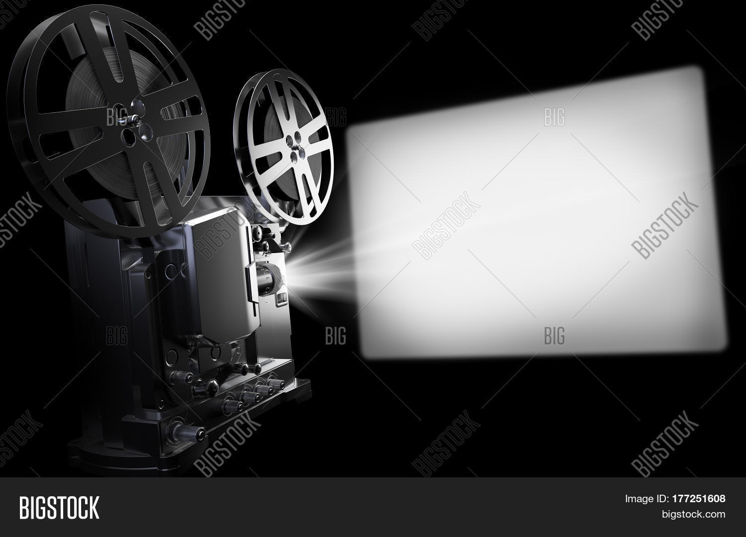 Old Cinema Projector And Screen Vintage Movie Or Video Concept 3d Rendering Illustration On