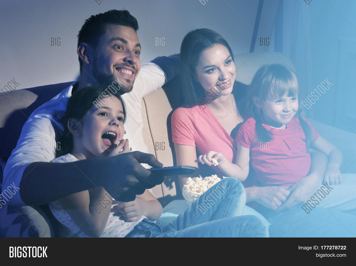 Happy Family Watching Image & Photo (Free Trial) | Bigstock