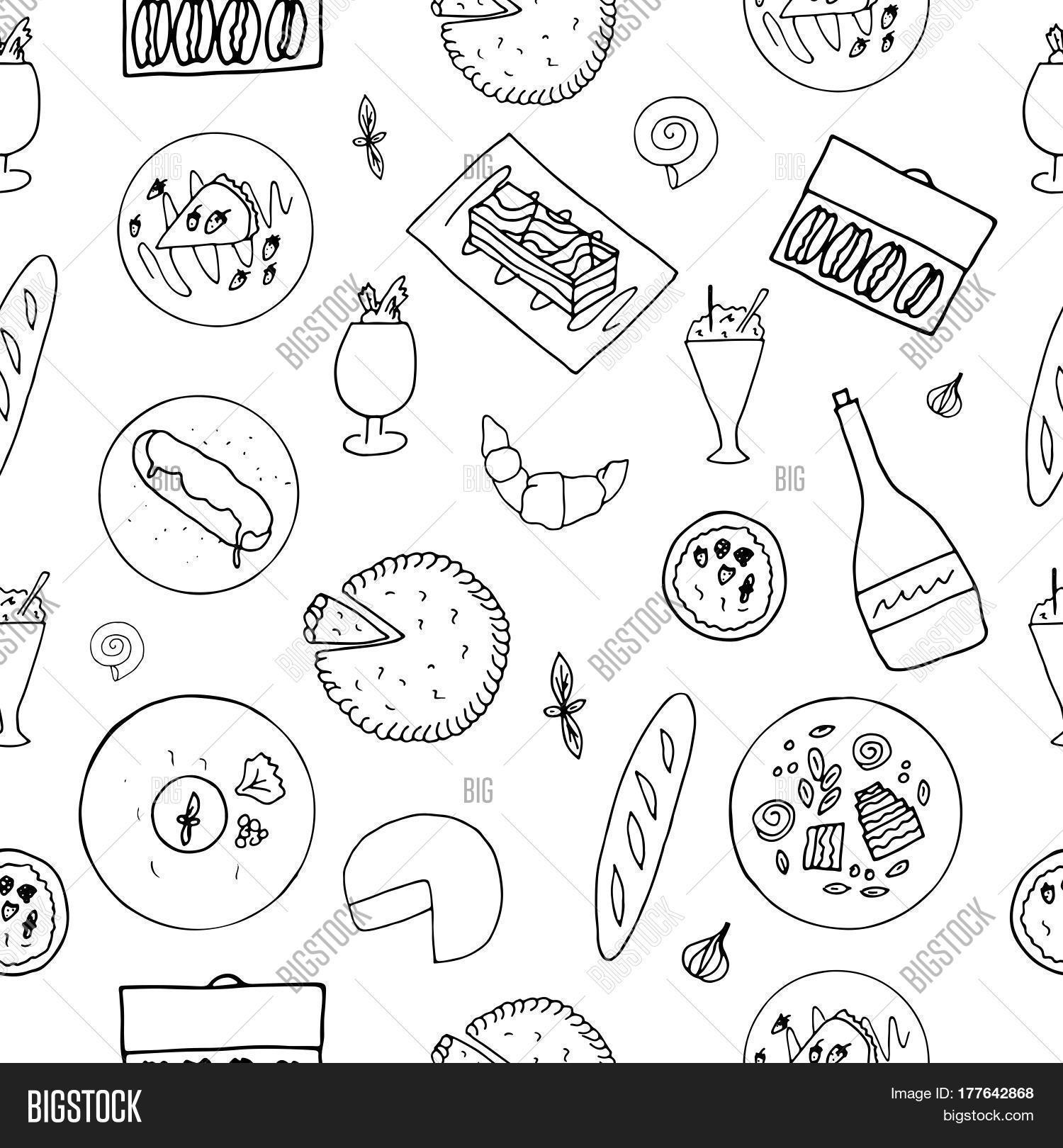 Hand Drawn French Cuisine Seamless Pattern Food With Baguette Macaron Mousse Au Chocolat Cafe