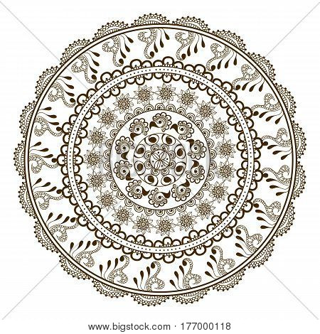 Vector floral mandala in indian style. Mehndi ornamental flower. Hand drawn ethnic pattern. Floral ornament for henna design