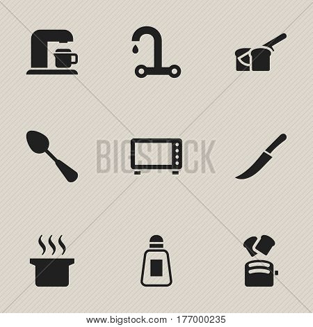 Set Of 9 Editable Meal Icons. Includes Symbols Such As Tablespoon, Faucet, Soup Pot And More. Can Be Used For Web, Mobile, UI And Infographic Design.