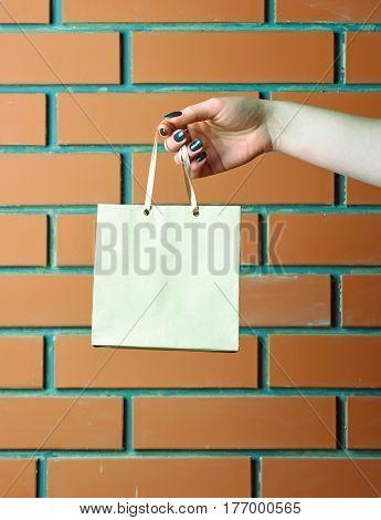 White Shopping Bag In Female Hand On Brick Wall