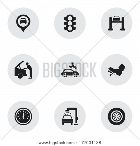 Set Of 9 Editable Vehicle Icons. Includes Symbols Such As Speed Control, Vehicle Wash, Pointer And More. Can Be Used For Web, Mobile, UI And Infographic Design.