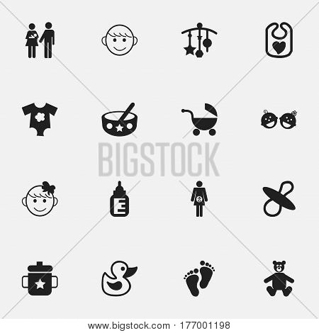 Set Of 16 Editable Infant Icons. Includes Symbols Such As Bath Toys, Adorn, Small Dresses And More. Can Be Used For Web, Mobile, UI And Infographic Design.
