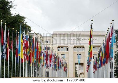 GENEVA, SWITZERLAND - SEPTEMBER 16, 2016: Palace of United Nations in Geneva, Switzerland. It has served as the home of the United Nations Office at Geneva since 1946