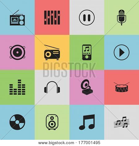 Set Of 16 Editable Audio Icons. Includes Symbols Such As Equalizer, Bar Wave, Musical Sign And More. Can Be Used For Web, Mobile, UI And Infographic Design.