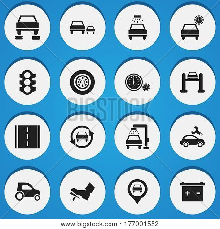 Set Of 16 Editable Vehicle Icons. Includes Symbols Such As Speedometer, Stoplight, Auto Repair And More. Can Be Used For Web, Mobile, UI And Infographic Design.