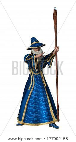 3D rendering of a fantasy wizard isolated on white background