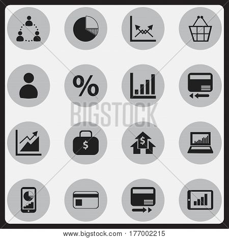 Set Of 16 Editable Statistic Icons. Includes Symbols Such As Percent, Equalizer Display, Bar Chart And More. Can Be Used For Web, Mobile, UI And Infographic Design.