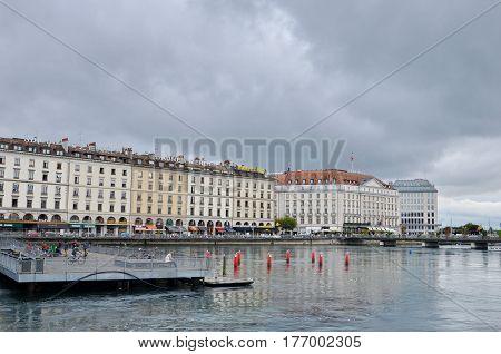 GENEVA, SWITZERLAND - SEPTEMBER 16: cityscape of Geneva with overcast sky on September 16, 2016. Geneva is the second biggest city in Switzerland