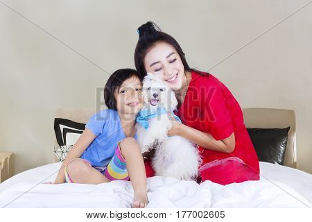 Portrait of beautiful mother and her daughter embracing a Maltese puppy while sitting in the bedroom