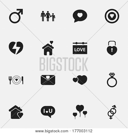 Set Of 16 Editable Passion Icons. Includes Symbols Such As Dartboard, Affection Letter, Divorce And More. Can Be Used For Web, Mobile, UI And Infographic Design.