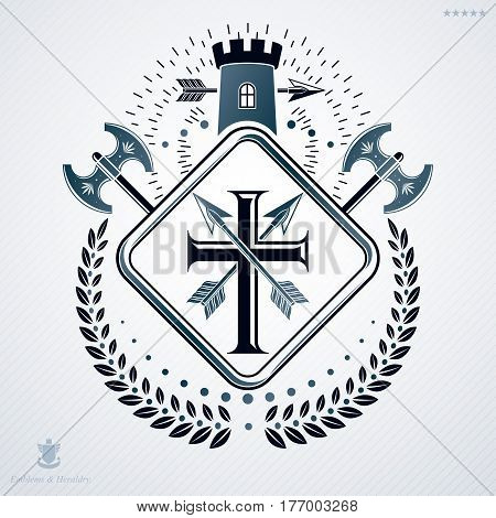 Vector vintage heraldic coat of arms created in award design and decorated using hatchets medieval tower and religious cross