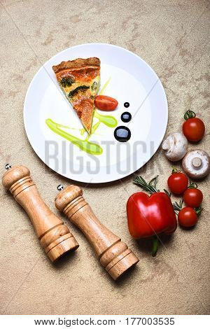 Pizza Slice Or Vegetable Pie With Pepperbox And Saltcellar