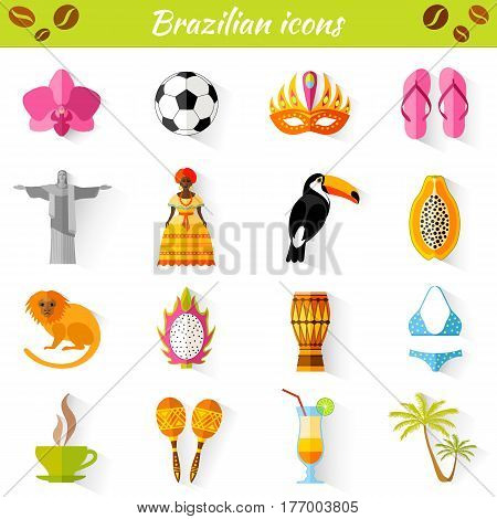 Set of vector travel Brazilian icons. Collection of famous symbols and design elements in Brazilian style.