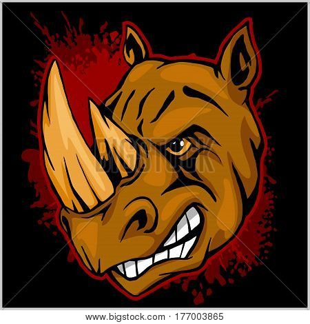 Rhino head on grunge background - athletic design complete with rhinoceros mascot vector illustration