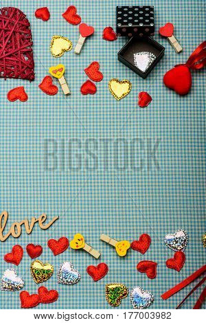 Valentines Set With Decorations On Checkered Cloth Background