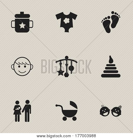 Set Of 9 Editable Child Icons. Includes Symbols Such As Adorn, Stroller, Goplet And More. Can Be Used For Web, Mobile, UI And Infographic Design.