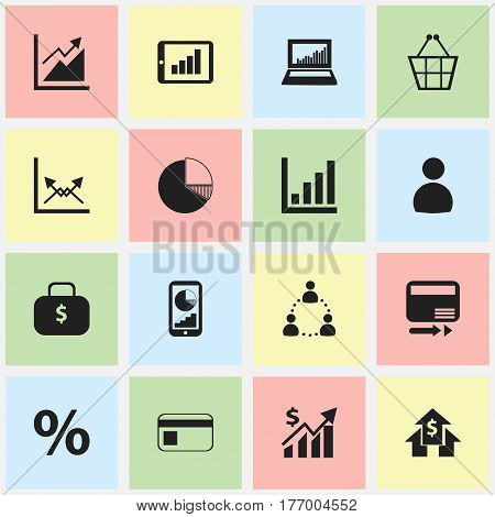 Set Of 16 Editable Logical Icons. Includes Symbols Such As Money Bag, Pay Redeem, Progress And More. Can Be Used For Web, Mobile, UI And Infographic Design.
