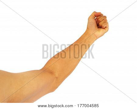 asian man show hand gesture strong that arm-wrestle