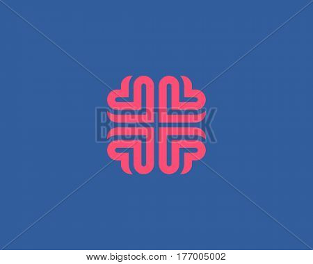Brain heart logo design. Education medical vector logotype
