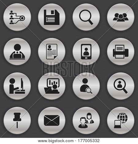 Set Of 16 Editable Office Icons. Includes Symbols Such As Publicity, Printing Machine, Document And More. Can Be Used For Web, Mobile, UI And Infographic Design.