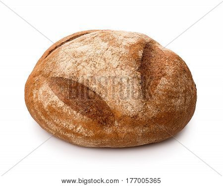 round sourdough rye bread isolated on white background. Brown loaf of bread