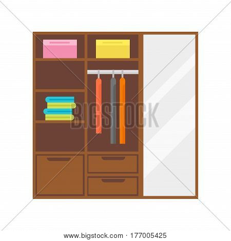 Flat design wardrobe of cupboard icon isolated vintage lifestyle retro larder with shelves and storage box interior design vector illustration. Home storing modern larder shelves room decoration.