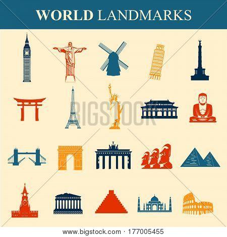 Famous monuments and landmarks icons. Travel and Tourism concept. Outline icons. Vector illustration