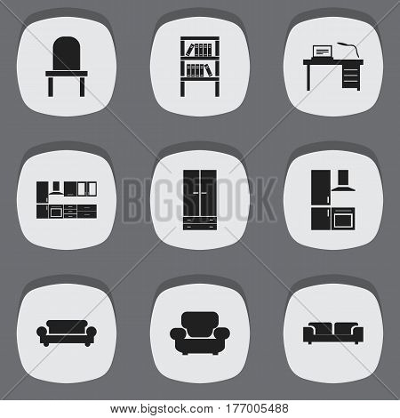Set Of 9 Editable Interior Icons. Includes Symbols Such As Cooking Furnishings, Lectern, Bookrack And More. Can Be Used For Web, Mobile, UI And Infographic Design.