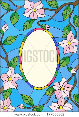 Illustration in stained glass style abstract frame with branches of a flowering plant on a blue background